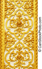 Stucco carvings - The gold stucco design of native thai...