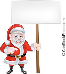 Santa Holding a Sign and Pointing - A Christmas cartoon of...