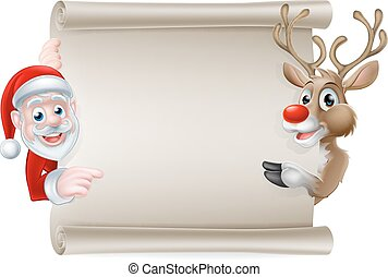 Santa Reindeer Scroll - Cartoon Christmas scroll sign of...