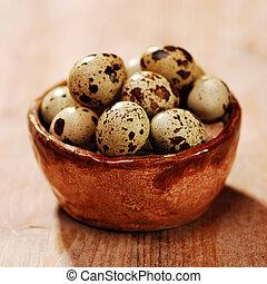 codorniz, huevos, cesta
