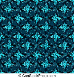 blue abstract flowers on dark background seamless pattern vector illustration