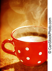wonderful cup of hot coffee - Close-up of a wonderful cup of...