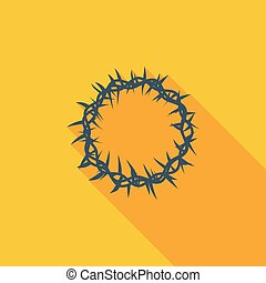 Crown of thorns single icon - Crown of thorns icon Flat...