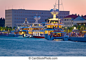 Luxury yachts on Split waterfront evening view, Dalmatia,...