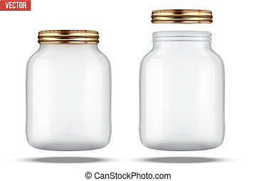 Glass Jars for canning and preserving. With cover and...