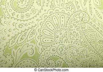 Vintage grey and green wallpaper with paisley pattern, toned...