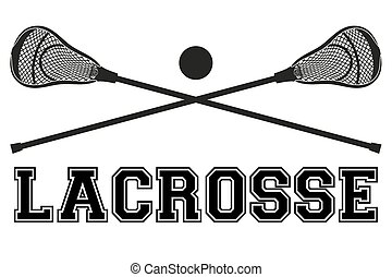 Lacrosse sticks and ball. Flat style - Lacrosse sticks and...
