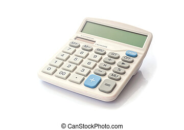 Realistic electronic calculater isolated on white background
