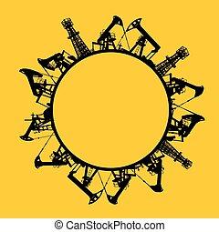 Oil rig icon - Oil rig icon in line design over orange...