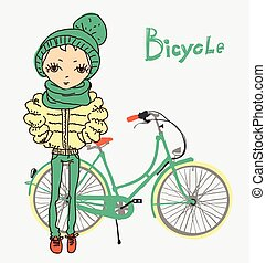 hipster girl with bicycle