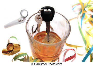 do not party drive and drink - whiskey glass with car keys...
