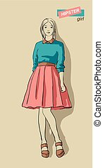 vector illustration of fashion girls hipsters - vector...