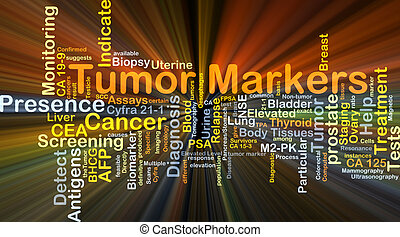 Tumor markers background concept glowing
