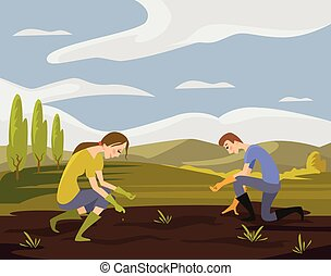 Vector sowing flat illustration