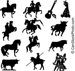 Set of silhouette typical spanish flamenco vector...
