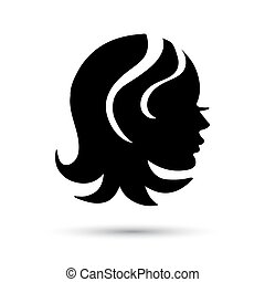 Silhouette woman  head icon