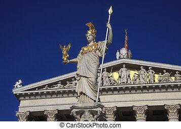 Athéna, debout, déesse,  pallas, bâtiment, sagesse, parlement,  statue, devant, autrichien, Vienne