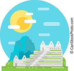 Machu Pichu flat design landmark illustration vector
