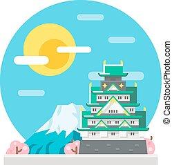 Osaka castle flat design landmark illustration vector