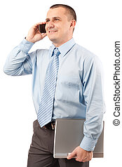 Young businessman with folder