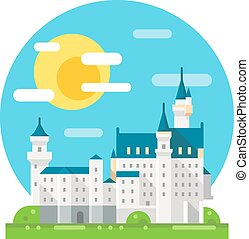 Neuschwanstein castle flat design landmark illustration...