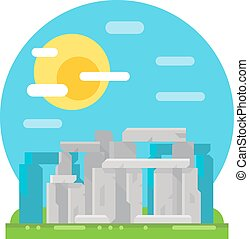 Stonehenge site flat design landmark illustration vector