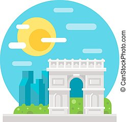 Arc de Triomphe flat design illustration vector