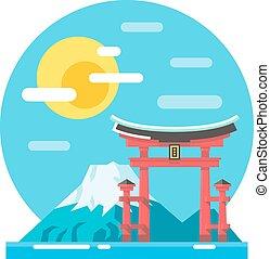 Torii shrine flat design landmark illustration vector