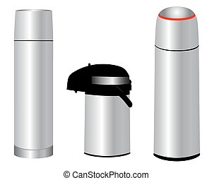 three thermos - Three different thermos for storing various...