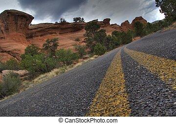 Road and rocks formations Colorado