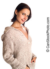 young beautiful woman in a knitted garment