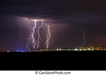 Lightning in the night - Night thunder lightning over the...