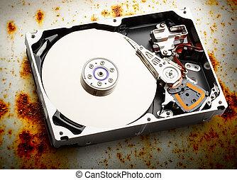 Hardisk's internal mechanism hardware - Close up of...