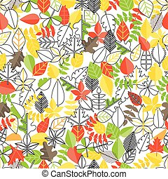 Different leaf collection seamless background. Simple line design illustration