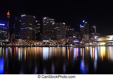 Sydney Darling Harbour Skyline - Sydney Darling Harbour at...