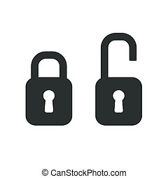 vector black lock isolated on white background