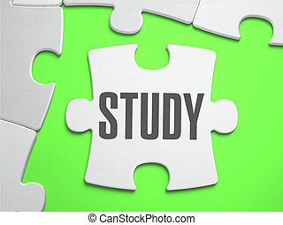 Study - Jigsaw Puzzle with Missing Pieces Bright Green...