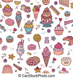 Desserts Background - Seamless Pattern - with Cakes, Sweets...