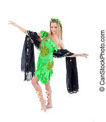 Attractive girl dances east dance