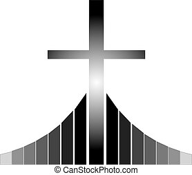 Christian cross at the Golgotha - Black and white Christian...