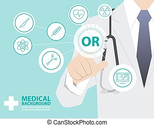 Medicine doctor  working with modern virtual technology, hand touching interface as medical concept,OR,OPERATING ROOM