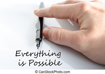 Everything is possible text concept isolated over white...
