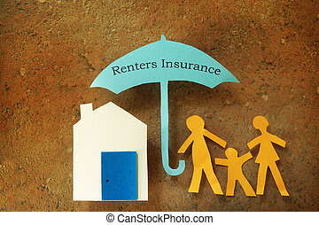 Renters Insurance - Paper cutout family with house under...