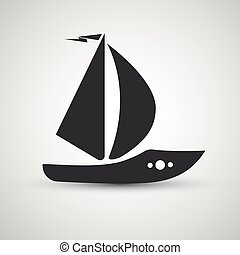 vector yacht boat transportation icon black isolated on gray background