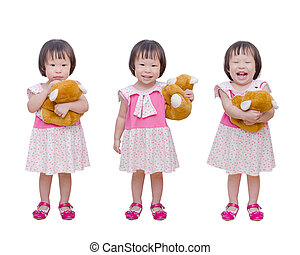 Three action of little girl with bear toy
