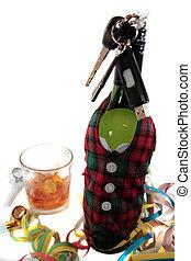 llaves, coche,  tartán, botella, whisky