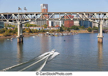 Portland Skyline with Marquam Bridge - Portland Oregon...