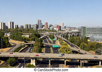 Portland Skyline with Freeway - Portland Oregon downtown...