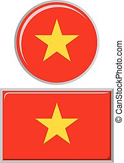 Vietnamese round and square icon flag. Vector illustration....