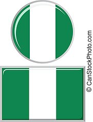 Nigerian round and square icon flag. Vector illustration. -...